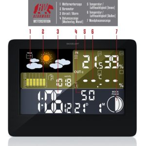 CSL - Funk Wetterstation mit Farbdisplay | inkl. Außensensor | DCF Empfangssignal / Funkuhr | Mondphasen-Anzeige / Innen- und Außentemperatur
